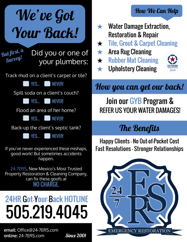 Plumber Clean-up Handout